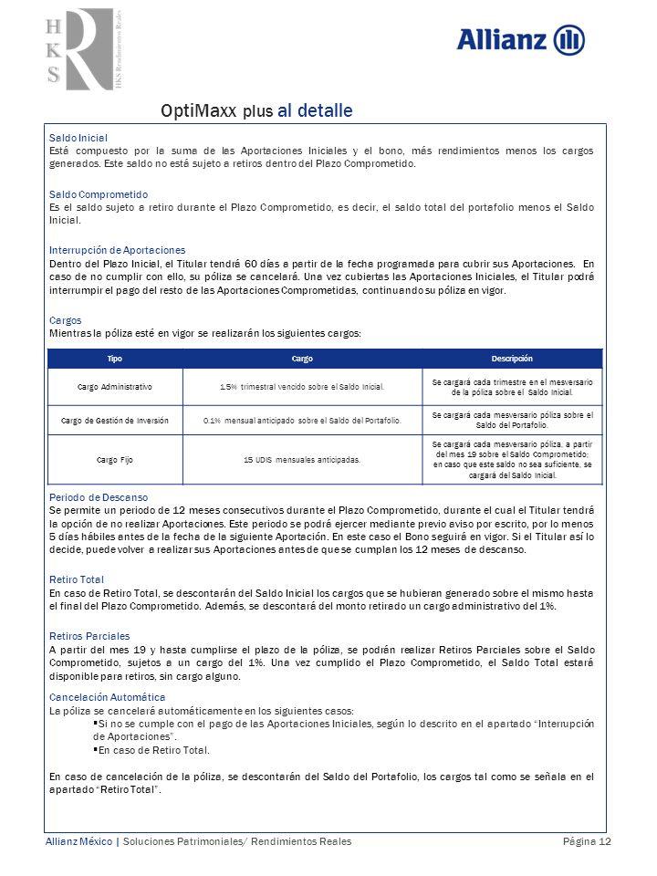 OptiMaxx plus al detalle Allianz México | Soluciones Patrimoniales/ Rendimientos Reales Página 12 TipoCargoDescripción Cargo Administrativo1.5% trimes