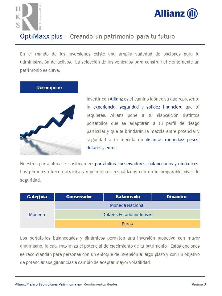 La inversión de tu futuro Allianz México | Soluciones Patrimoniales/ Rendimientos Reales Página 4 Tu inversión podrá estar asignada a cualquiera de los portafolios disponibles, o bajo la mezcla de inversión que tú desees.