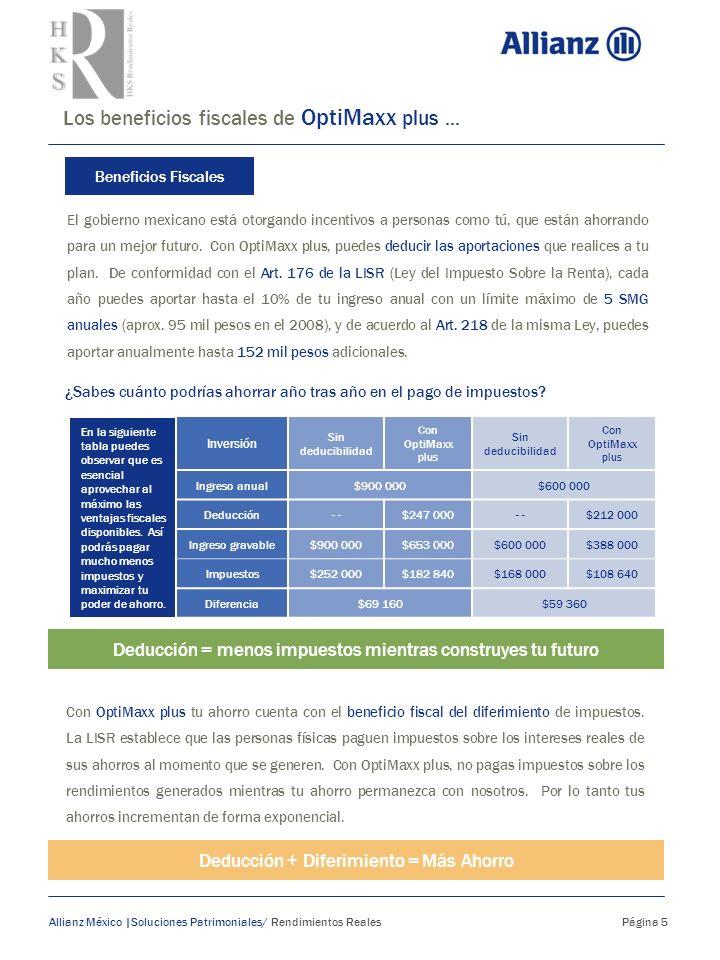 Los beneficios fiscales de OptiMaxx plus... Allianz México |Soluciones Patrimoniales/ Rendimientos Reales Página 5 Beneficios Fiscales El gobierno mex