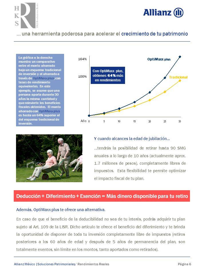 ... una herramienta poderosa para acelerar el crecimiento de tu patrimonio Allianz México |Soluciones Patrimoniales/ Rendimientos Reales Página 6 Y cu