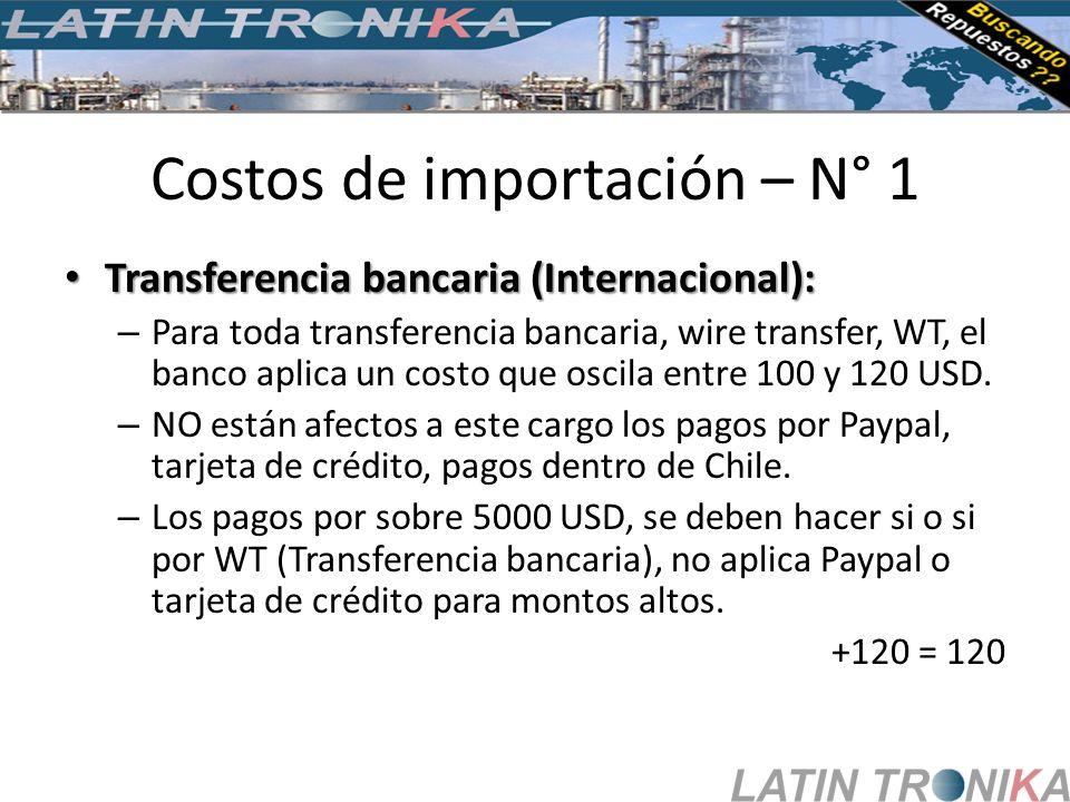Costos de importación – N° 1 Transferencia bancaria (Internacional): Transferencia bancaria (Internacional): – Para toda transferencia bancaria, wire