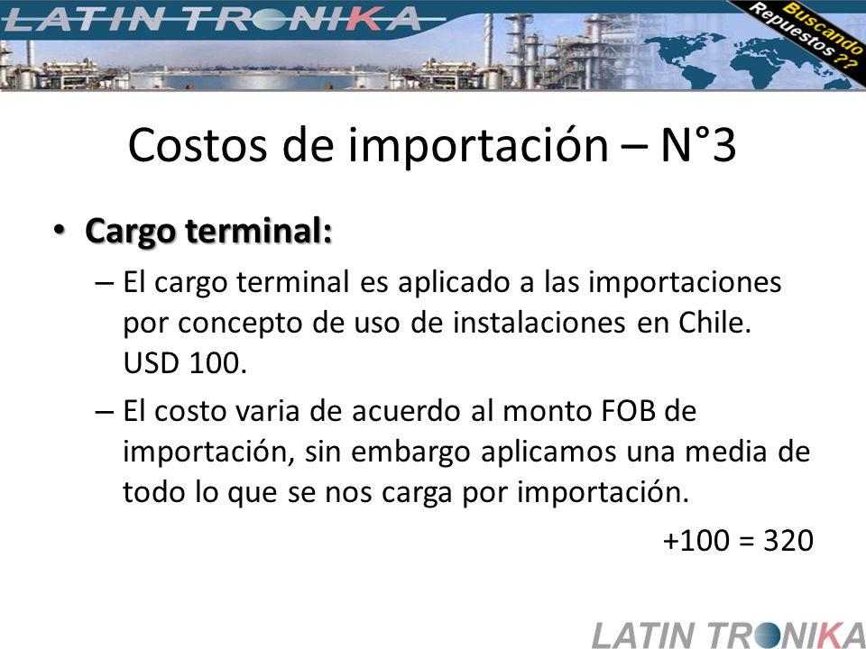 Costos de importación – N°3 Cargo terminal: Cargo terminal: – El cargo terminal es aplicado a las importaciones por concepto de uso de instalaciones e