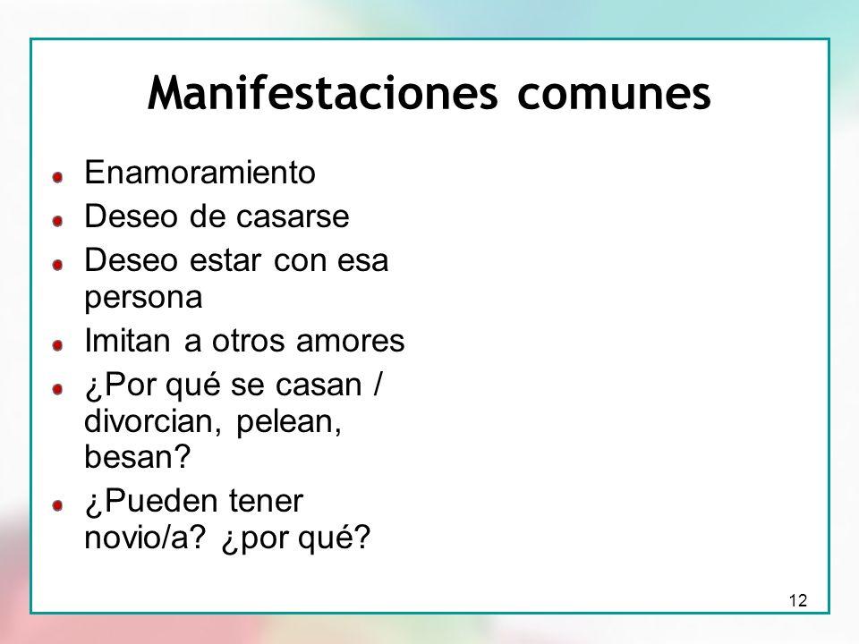 12 Manifestaciones comunes Enamoramiento Deseo de casarse Deseo estar con esa persona Imitan a otros amores ¿Por qué se casan / divorcian, pelean, bes