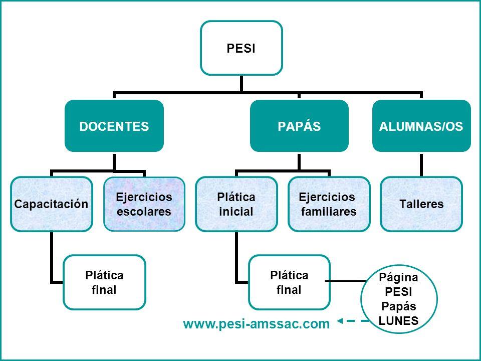 4 PESI DOCENTES Capacitación Plática final Ejercicios escolares PAPÁS Plática inicial Plática final Ejercicios familiares ALUMNAS/OS Talleres www.pesi