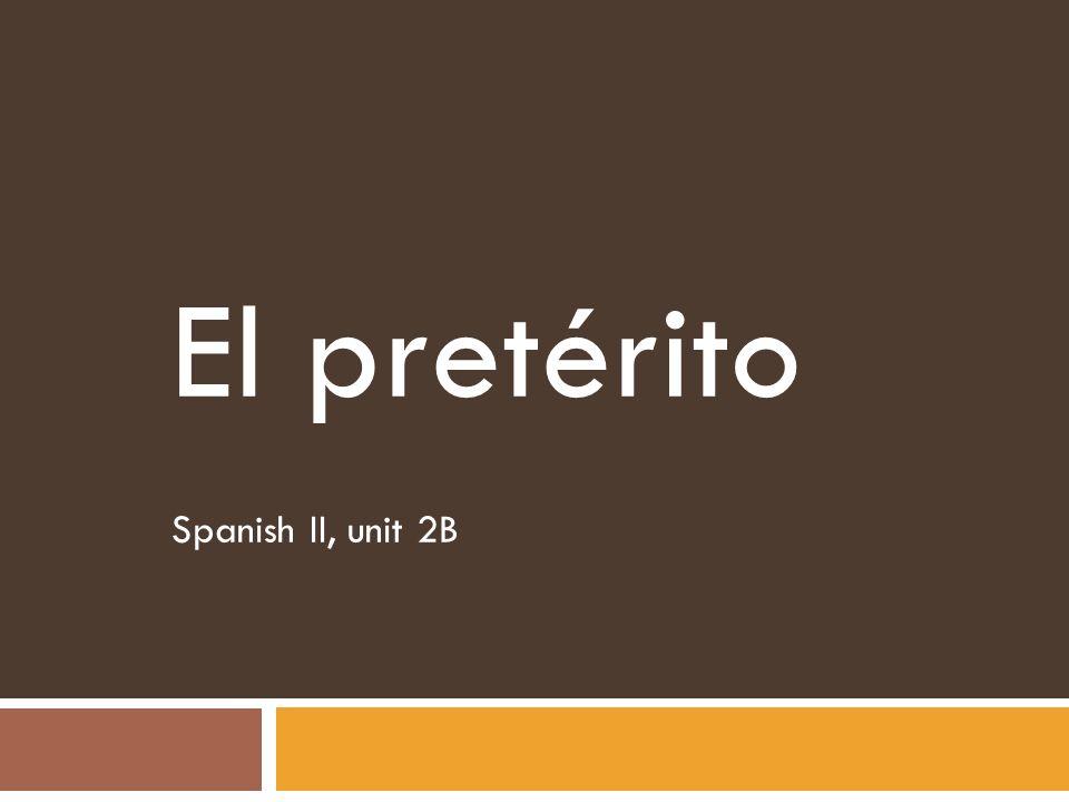 El pretérito -ir verb example: salir – to leave yo salí nosotros salimos (I left)(we opened) Tú salistevosotros salisteis ( you left)(you all opened ) Usted salióUstedes salieron (you left)(you all opened) él salió ellos salieron (he left)(they opened) Ella salió ellas salieron (she left)(they opened)