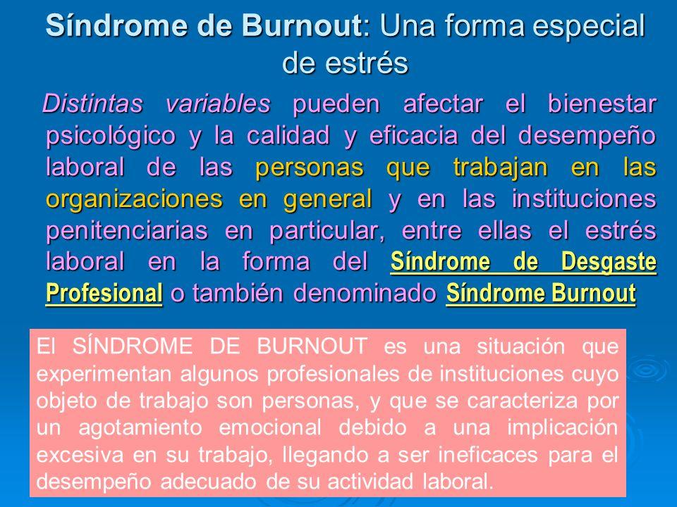 Síndrome de Burnout: Una forma especial de estrés Distintas variables pueden afectar el bienestar psicológico y la calidad y eficacia del desempeño la