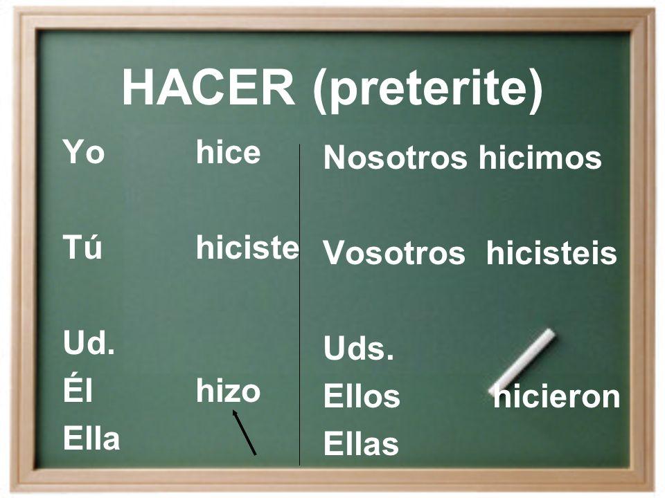 HACER (present) Yohago Túhaces Ud. Élhace Ella Nosotros hacemos Vosotros hacéis Uds.