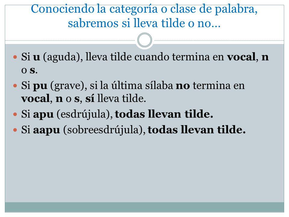 Conociendo la categoría o clase de palabra, sabremos si lleva tilde o no… Si u (aguda), lleva tilde cuando termina en vocal, n o s.