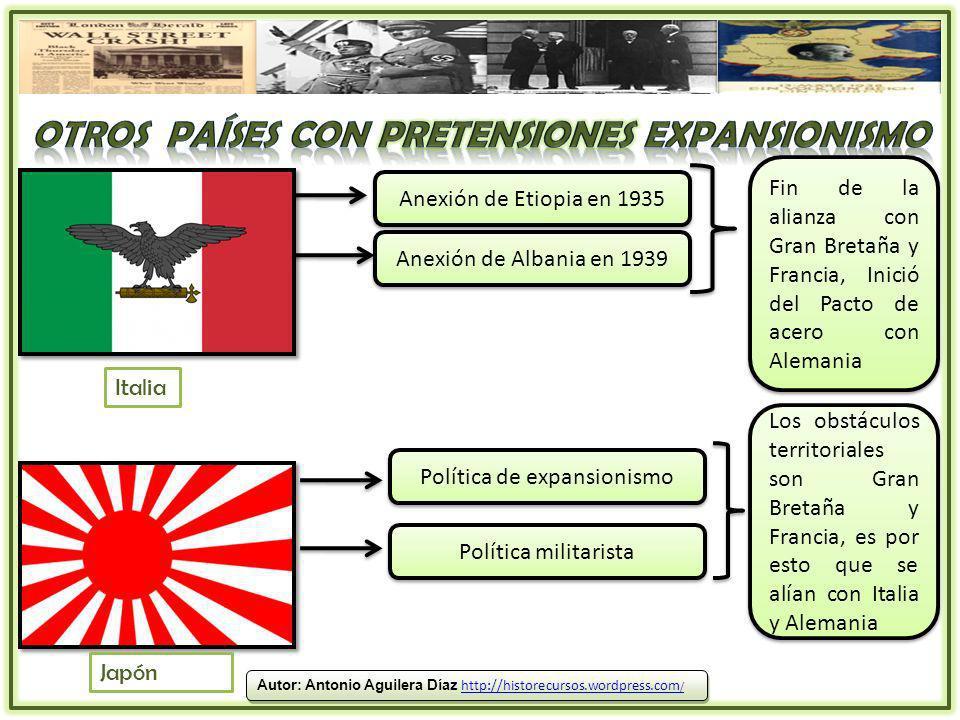 Anexión de Etiopia en 1935 Anexión de Albania en 1939 Fin de la alianza con Gran Bretaña y Francia, Inició del Pacto de acero con Alemania Italia Japó
