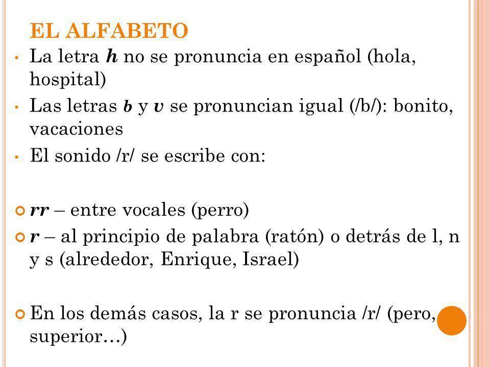EL ALFABETO La letra h no se pronuncia en español (hola, hospital) Las letras b y v se pronuncian igual (/b/): bonito, vacaciones El sonido /r/ se esc