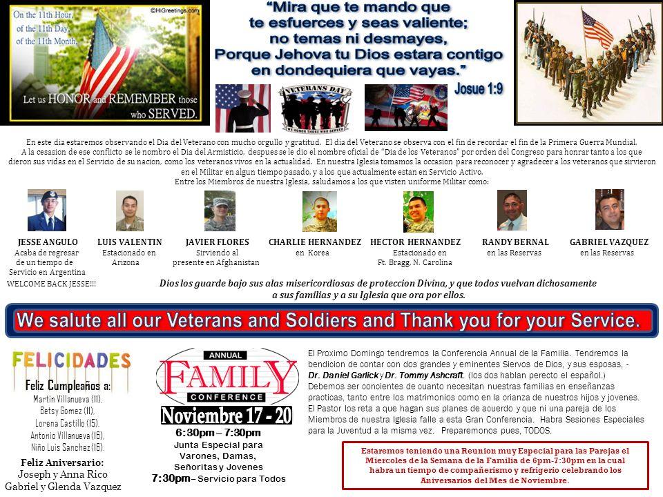 En este dia estaremos observando el Dia del Veterano con mucho orgullo y gratitud. El dia del Veterano se observa con el fin de recordar el fin de la