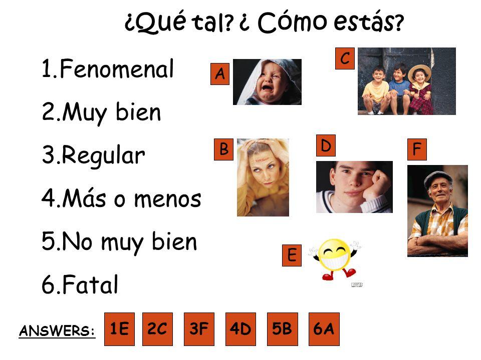 ¿Qué tal? ¿ Cómo estás? 1.Fenomenal 2.Muy bien 3.Regular 4.Más o menos 5.No muy bien 6.Fatal A B D F E C 1E ANSWERS: 2C3F4D5B6A