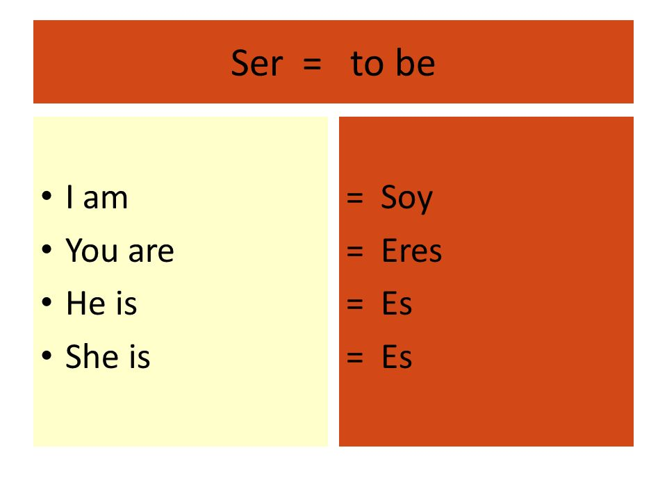 Ser = to be I am You are He is She is = Soy = Eres = Es