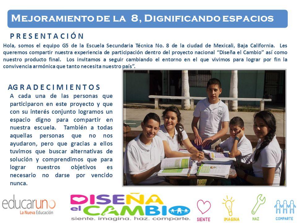 Hola, somos el equipo G5 de la Escuela Secundaria Técnica No. 8 de la ciudad de Mexicali, Baja California. Les queremos compartir nuestra experiencia