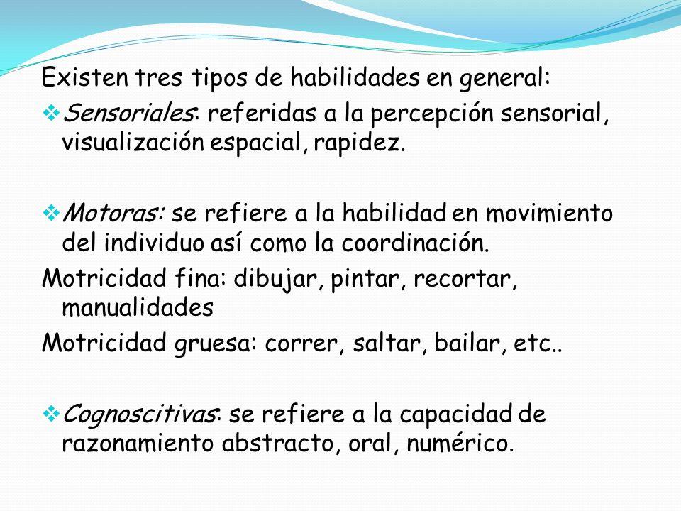 Existen tres tipos de habilidades en general: Sensoriales: referidas a la percepción sensorial, visualización espacial, rapidez. Motoras: se refiere a