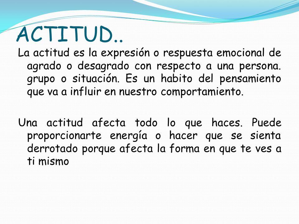 ACTITUD.. La actitud es la expresión o respuesta emocional de agrado o desagrado con respecto a una persona. grupo o situación. Es un habito del pensa