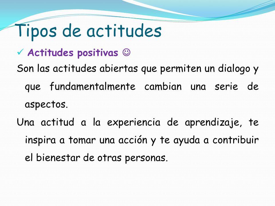 Tipos de actitudes Actitudes positivas Son las actitudes abiertas que permiten un dialogo y que fundamentalmente cambian una serie de aspectos. Una ac