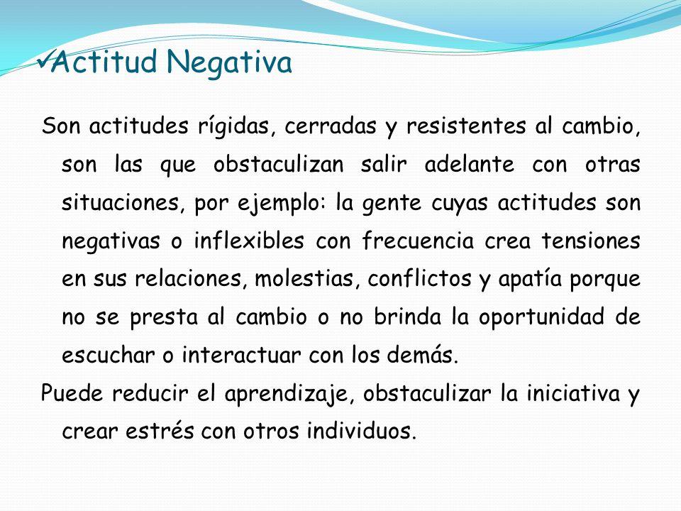 Actitud Negativa Son actitudes rígidas, cerradas y resistentes al cambio, son las que obstaculizan salir adelante con otras situaciones, por ejemplo: