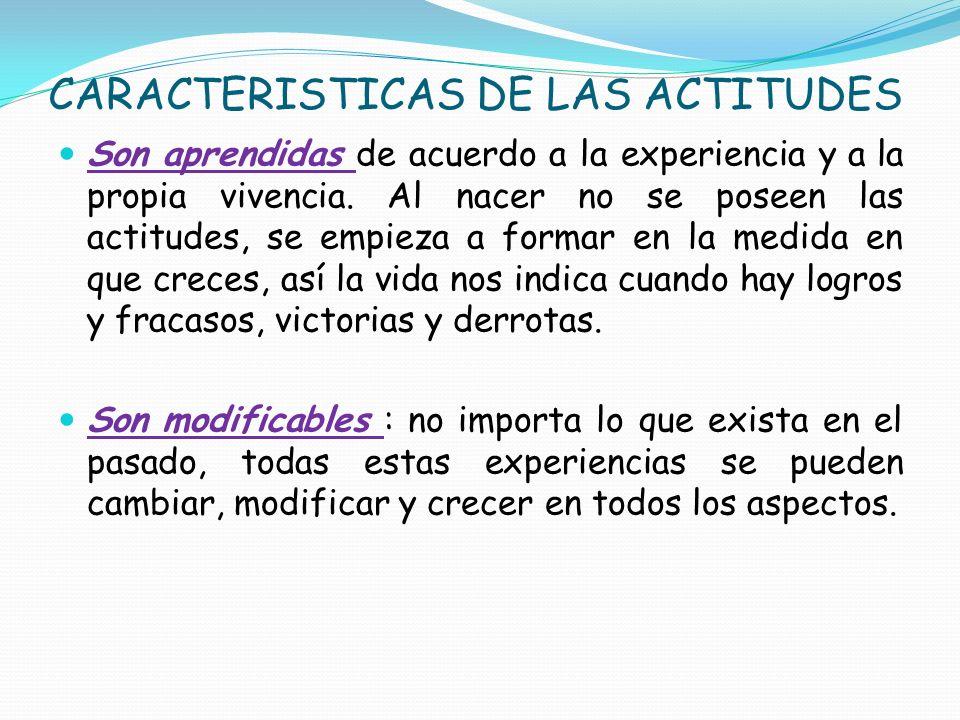 CARACTERISTICAS DE LAS ACTITUDES Son aprendidas de acuerdo a la experiencia y a la propia vivencia. Al nacer no se poseen las actitudes, se empieza a