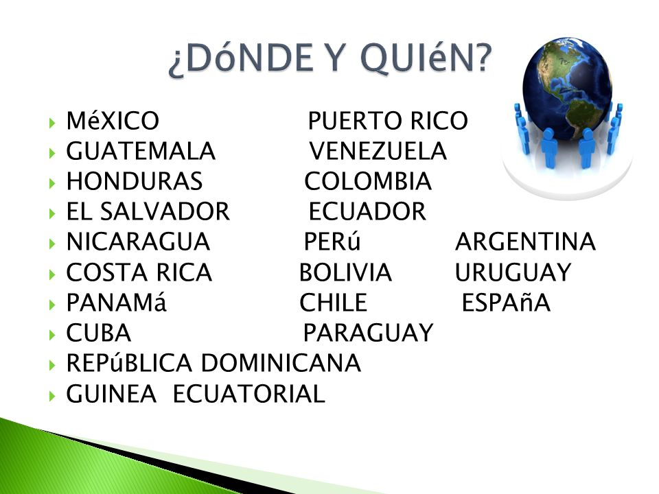 MéXICO PUERTO RICO GUATEMALA VENEZUELA HONDURAS COLOMBIA EL SALVADOR ECUADOR NICARAGUA PERú ARGENTINA COSTA RICA BOLIVIA URUGUAY PANAMá CHILE ESPAñA C