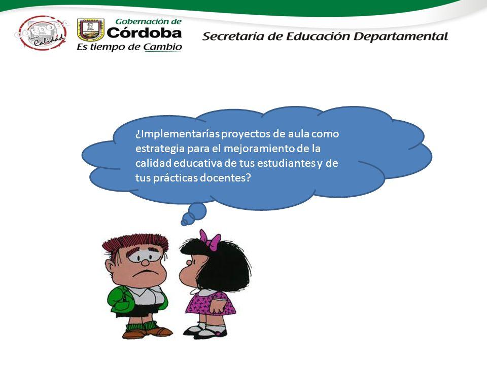¿Implementarías proyectos de aula como estrategia para el mejoramiento de la calidad educativa de tus estudiantes y de tus prácticas docentes?