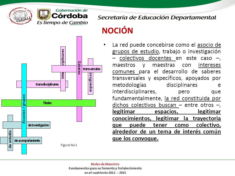 NOCIÓN La red puede concebirse como el asocio de grupos de estudio, trabajo o investigación – colectivos docentes en este caso –, maestros y maestras