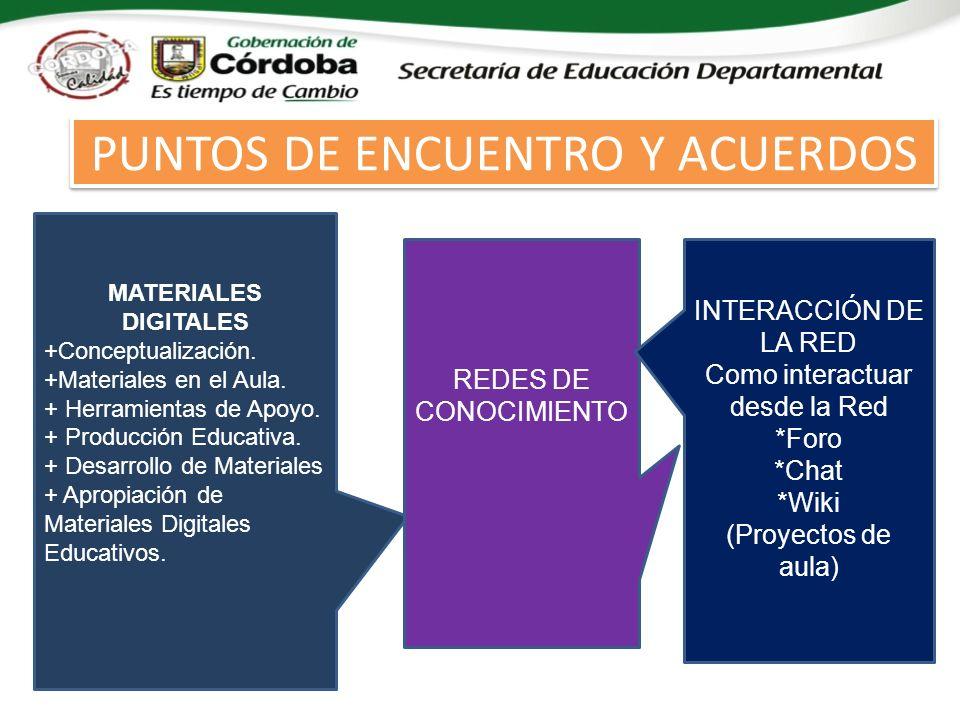 PUNTOS DE ENCUENTRO Y ACUERDOS MATERIALES DIGITALES +Conceptualización.