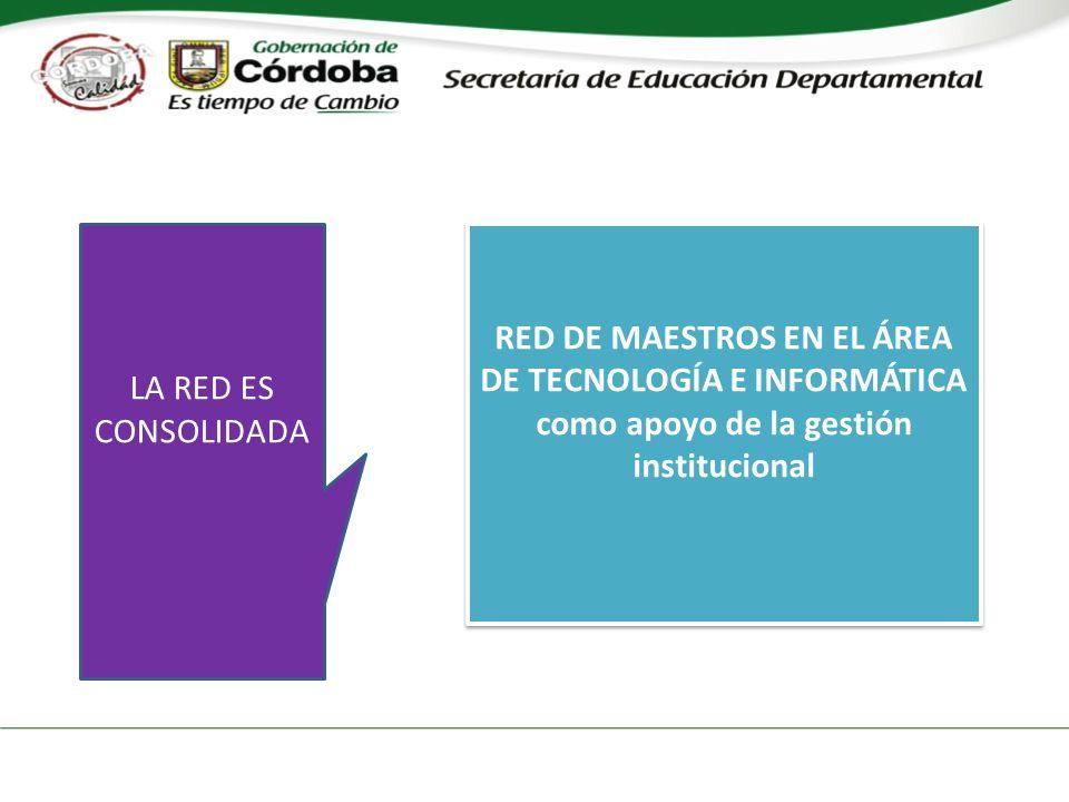 RED DE MAESTROS EN EL ÁREA DE TECNOLOGÍA E INFORMÁTICA como apoyo de la gestión institucional RED DE MAESTROS EN EL ÁREA DE TECNOLOGÍA E INFORMÁTICA como apoyo de la gestión institucional LA RED ES CONSOLIDADA