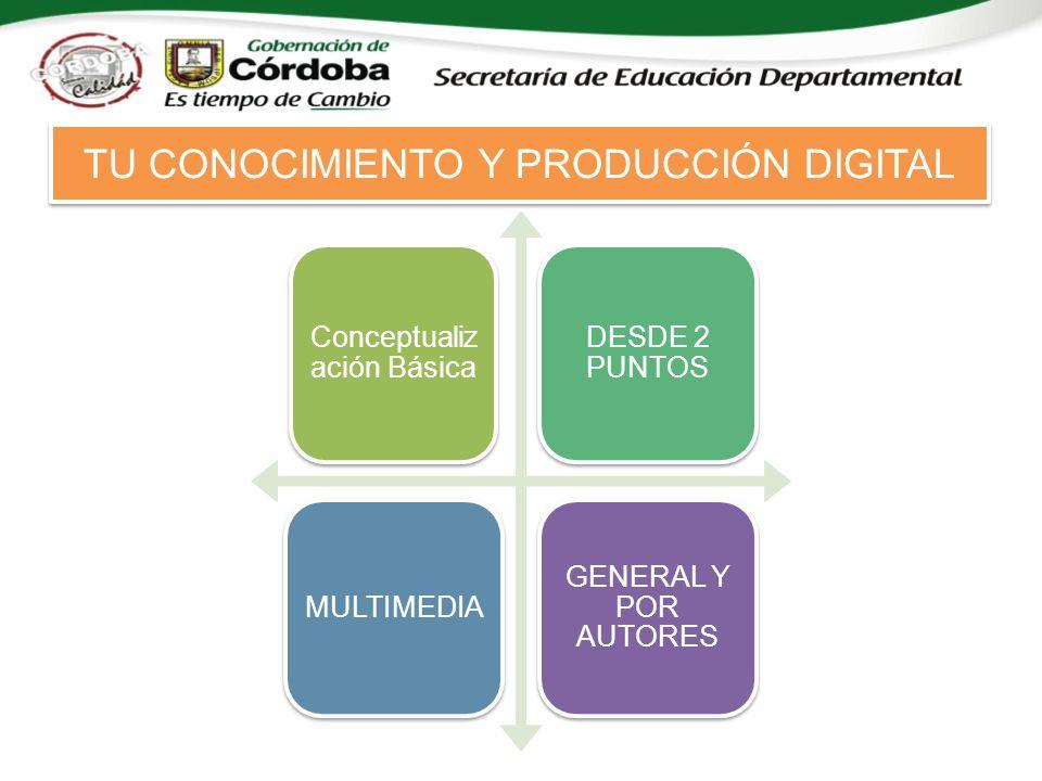 Conceptualiz ación Básica DESDE 2 PUNTOS MULTIMEDIA GENERAL Y POR AUTORES TU CONOCIMIENTO Y PRODUCCIÓN DIGITAL