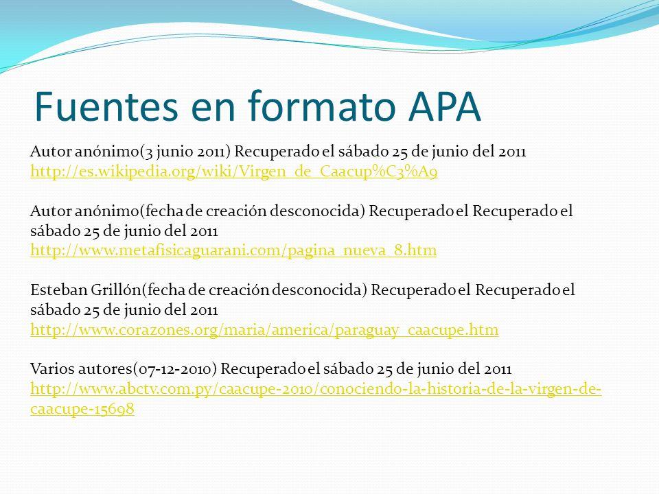 Fuentes en formato APA Autor anónimo(3 junio 2011) Recuperado el sábado 25 de junio del 2011 http://es.wikipedia.org/wiki/Virgen_de_Caacup%C3%A9 Autor
