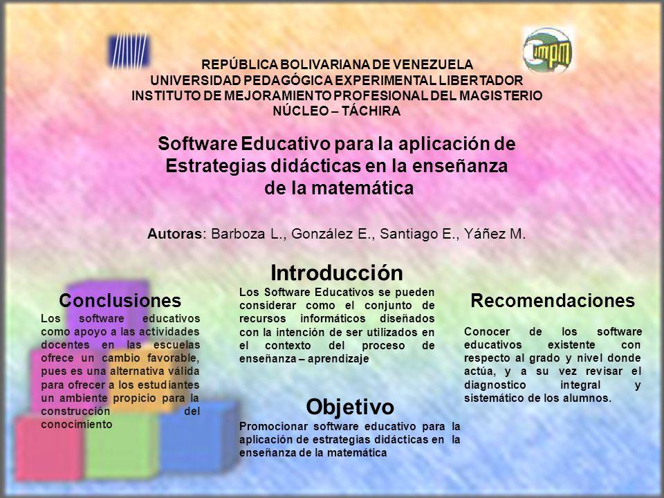 REPÚBLICA BOLIVARIANA DE VENEZUELA UNIVERSIDAD PEDAGÓGICA EXPERIMENTAL LIBERTADOR INSTITUTO DE MEJORAMIENTO PROFESIONAL DEL MAGISTERIO NÚCLEO – TÁCHIR