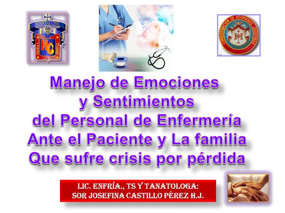 OBJETIVOS DEL TEMA : 1.-CONTRIBUIR A QUE EL PERSONAL DE ENFERMER{IA, IDENTIFIQUE SUS EMOCIONES Y SENTIMIENTOS AL CONFRONTARSE VEN LA ATENCIÓN A PACIENTES Y FAMILIARES QUE SUFREN DE PÉRDIDAS DIVERSAS.