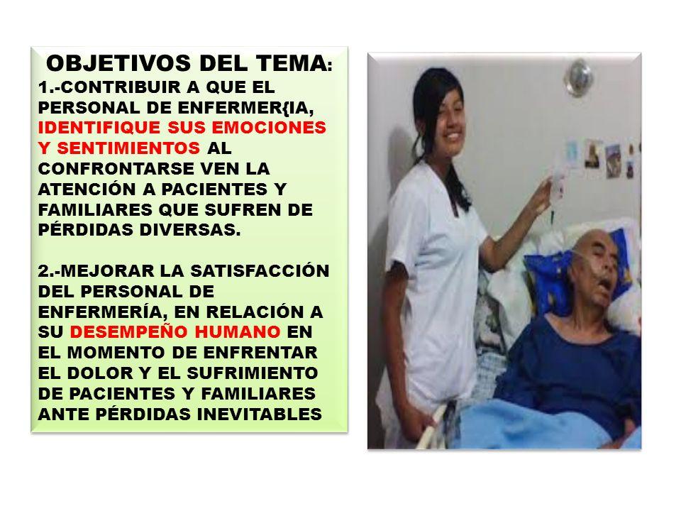 *EMOCIONES Y SENTIMIENTOS Funciones básicas de enfermería *LA MAYOR DE LAS PÈRDIDAS (PROCESO DE AGONÌA) *REALIDADES QUE ORIGINAN SENTIMIENTOS Y EMOCIONES EN EL PERSONAL DE SALUD.