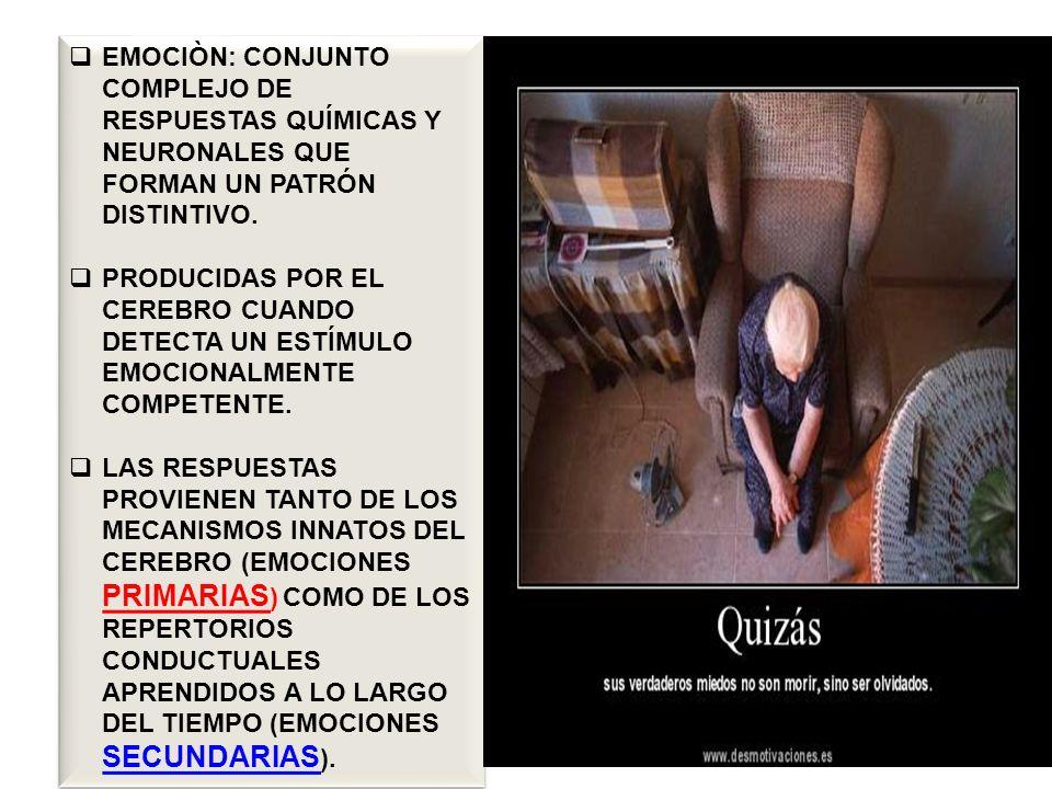 LAS EMOCIONES SON INTENSAS Y BREVES SON MECANISMOS QUE NOS AYUDAN A REACCIONAR CON RAPIDEZ ANTE ACONTECIMIENTOS INESPERADOS A TOMAR DECISIONES CON PRONTITUD Y SEGURIDAD A COMUNICARNOS DE FORMA VERBAL Y DE FORMA NO VERBAL CON OTRAS PERSONAS.
