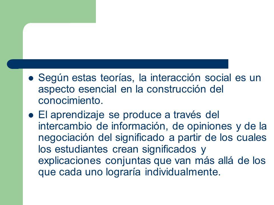 Según estas teorías, la interacción social es un aspecto esencial en la construcción del conocimiento. El aprendizaje se produce a través del intercam