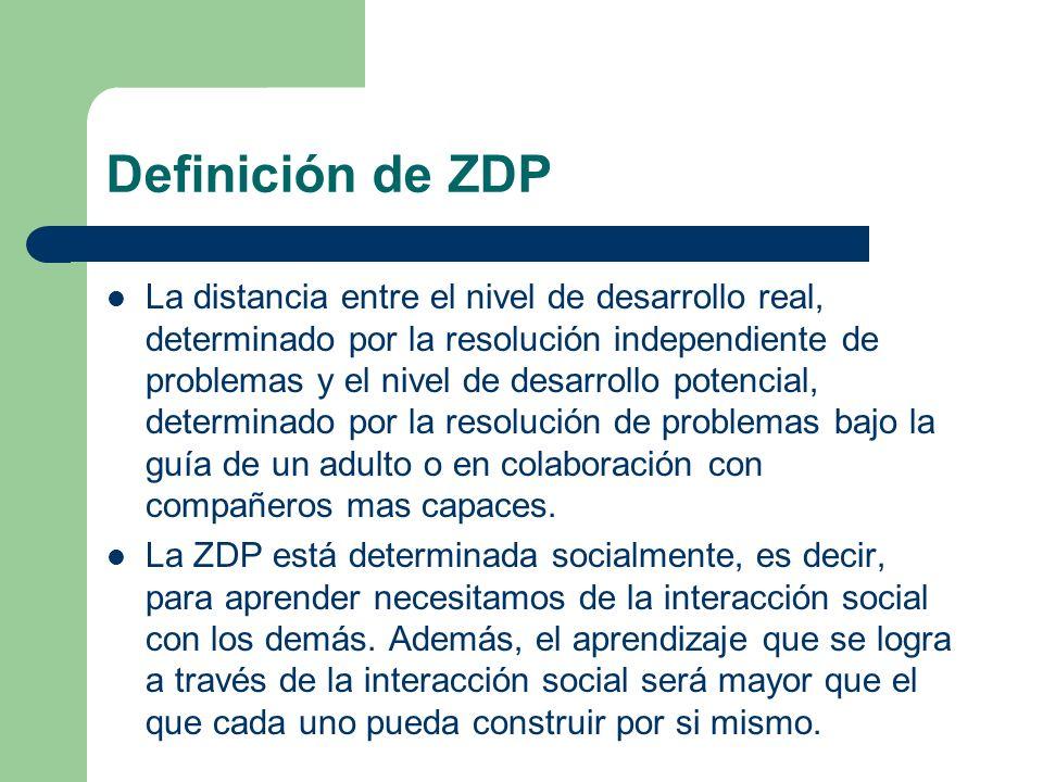 Definición de ZDP La distancia entre el nivel de desarrollo real, determinado por la resolución independiente de problemas y el nivel de desarrollo potencial, determinado por la resolución de problemas bajo la guía de un adulto o en colaboración con compañeros mas capaces.