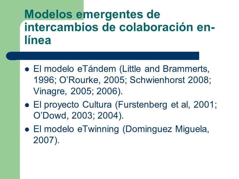 Modelos emergentes de intercambios de colaboración en- línea El modelo eTándem (Little and Brammerts, 1996; ORourke, 2005; Schwienhorst 2008; Vinagre,