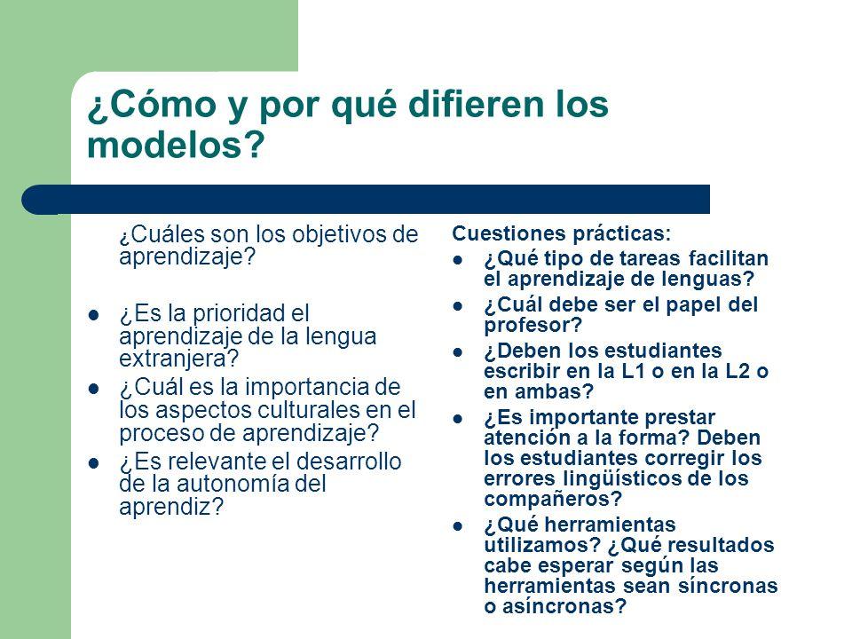 ¿Cómo y por qué difieren los modelos? ¿ Cuáles son los objetivos de aprendizaje? ¿Es la prioridad el aprendizaje de la lengua extranjera? ¿Cuál es la