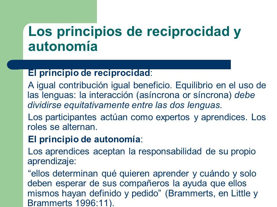 Los principios de reciprocidad y autonomía El principio de reciprocidad: A igual contribución igual beneficio. Equilibrio en el uso de las lenguas: la