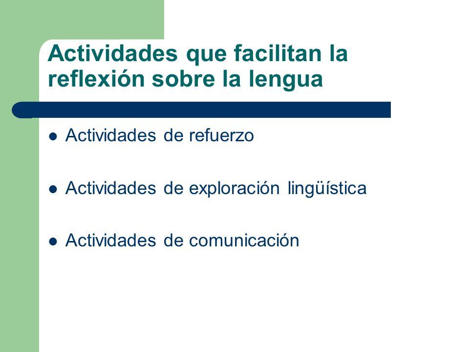 Actividades que facilitan la reflexión sobre la lengua Actividades de refuerzo Actividades de exploración lingüística Actividades de comunicación