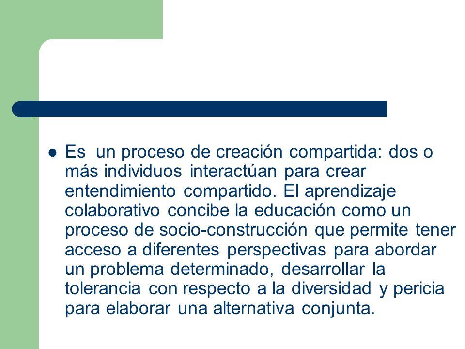 Es un proceso de creación compartida: dos o más individuos interactúan para crear entendimiento compartido. El aprendizaje colaborativo concibe la edu