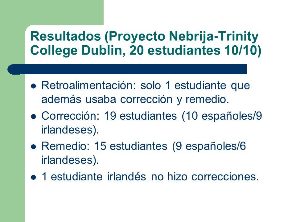 Resultados (Proyecto Nebrija-Trinity College Dublin, 20 estudiantes 10/10) Retroalimentación: solo 1 estudiante que además usaba corrección y remedio.