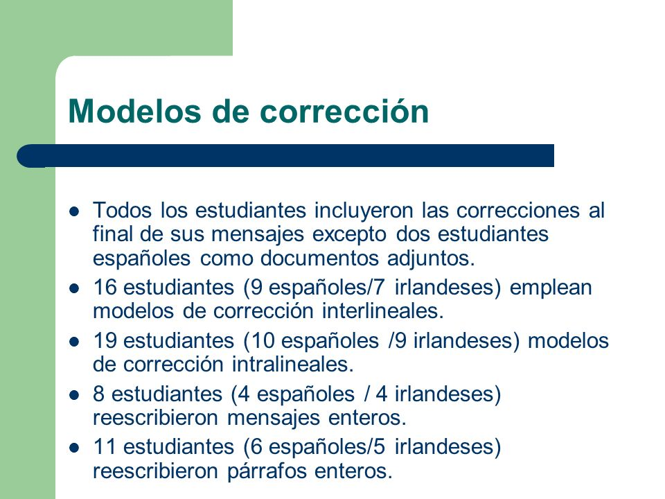Modelos de corrección Todos los estudiantes incluyeron las correcciones al final de sus mensajes excepto dos estudiantes españoles como documentos adjuntos.