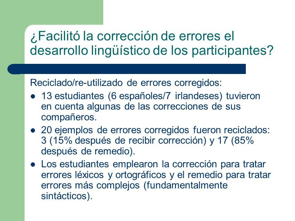 ¿Facilitó la corrección de errores el desarrollo lingüístico de los participantes? Reciclado/re-utilizado de errores corregidos: 13 estudiantes (6 esp