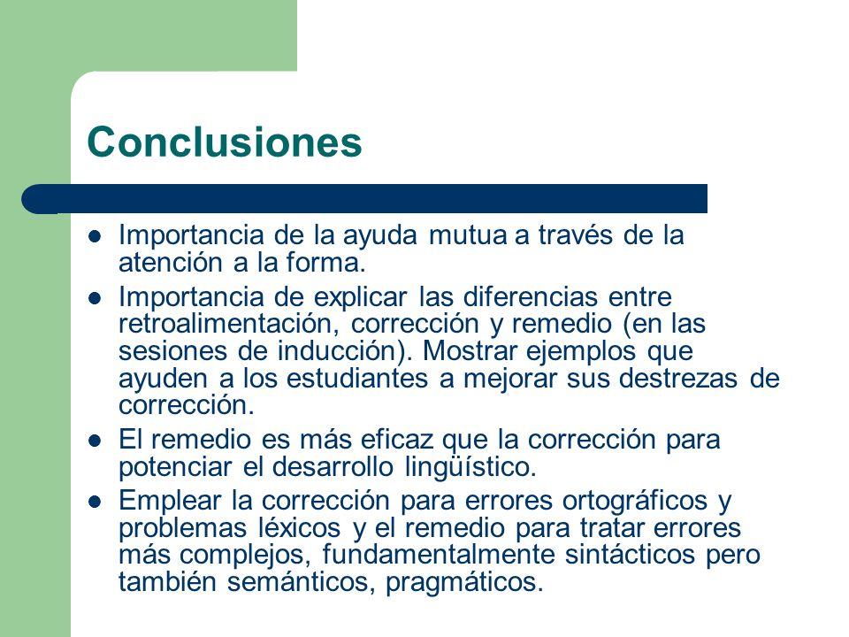 Conclusiones Importancia de la ayuda mutua a través de la atención a la forma. Importancia de explicar las diferencias entre retroalimentación, correc