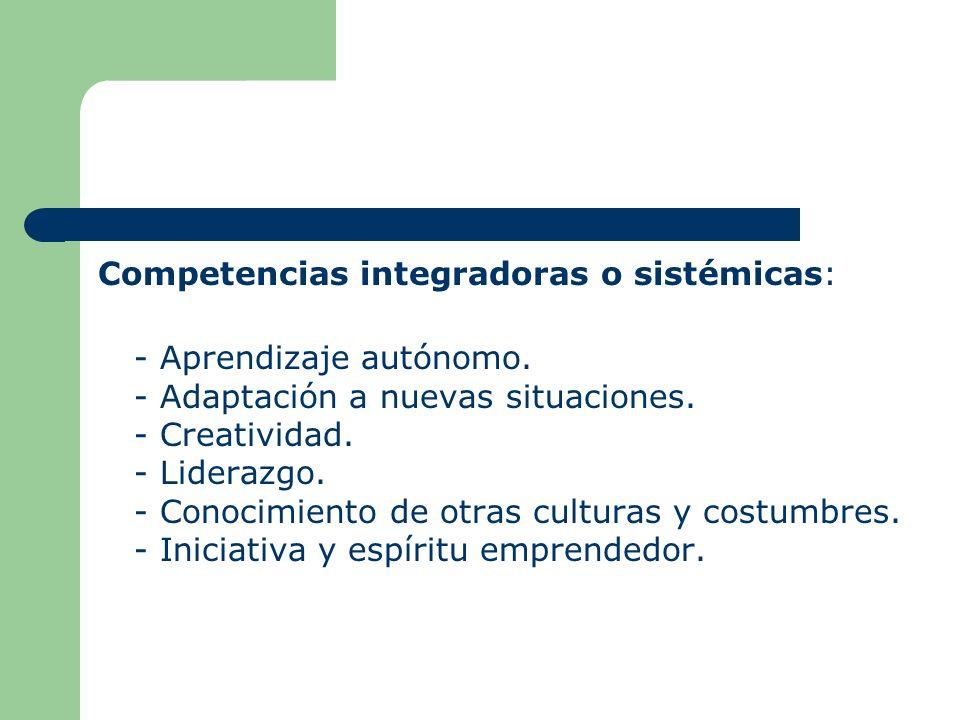 Competencias integradoras o sistémicas: - Aprendizaje autónomo. - Adaptación a nuevas situaciones. - Creatividad. - Liderazgo. - Conocimiento de otras