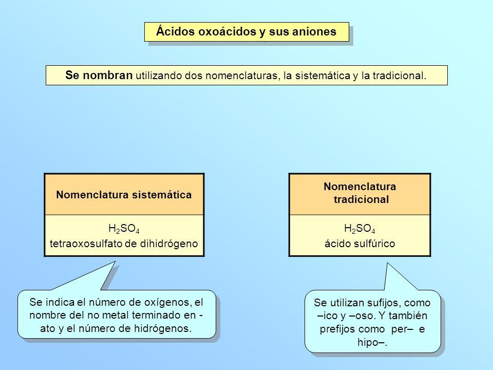 Ácidos oxoácidos y sus aniones Se nombran utilizando dos nomenclaturas, la sistemática y la tradicional. Nomenclatura sistemática H 2 SO 4 tetraoxosul