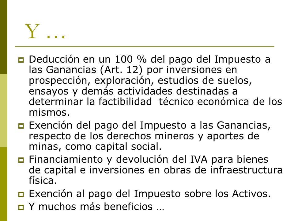 Deducción en un 100 % del pago del Impuesto a las Ganancias (Art. 12) por inversiones en prospección, exploración, estudios de suelos, ensayos y demás