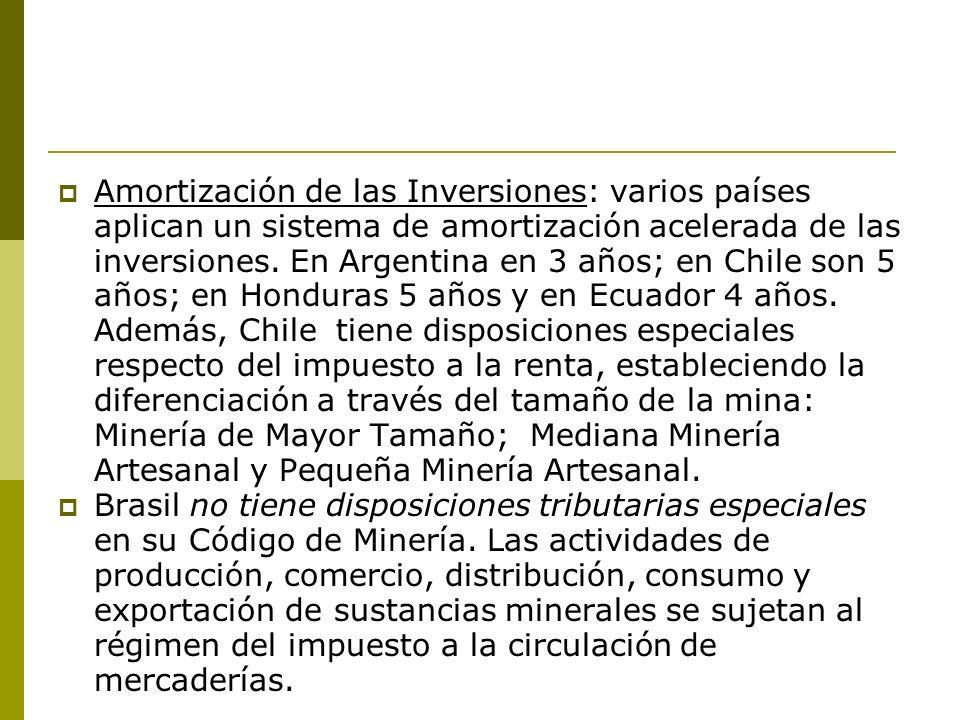 Amortización de las Inversiones: varios países aplican un sistema de amortización acelerada de las inversiones. En Argentina en 3 años; en Chile son 5