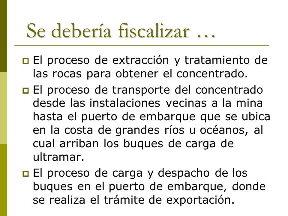 Se debería fiscalizar … El proceso de extracción y tratamiento de las rocas para obtener el concentrado. El proceso de transporte del concentrado desd